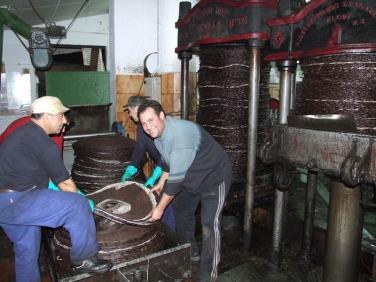 Ángel Zueco, en primer plano, trabajando en la almazara. Foto: Olearum